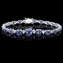 `14k Gold 12.5ct Tanzanite 0.80ct Diamond Bracelet