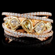 18K Rose Gold 1.48ctw Fancy Color Diamond Ring