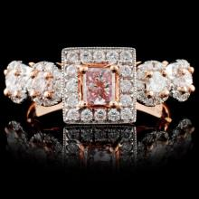 18K Rose Gold 0.95ctw Fancy Color Diamond Ring