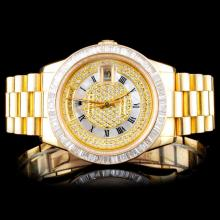 Rolex 18K YG Day-Date 3.00ct Diamond Wristwatch