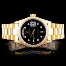Rolex 18K YG Date-Date 1.00ct Diamond Watch
