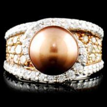 14K Gold 9.5MM Pearl & 2.48ctw Fancy Color Diamond