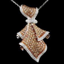 14K Gold 2.52ctw Fancy Diamond Pendant