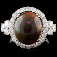14K Gold 4.45ct Opal & 1.43ct Diamond Ring