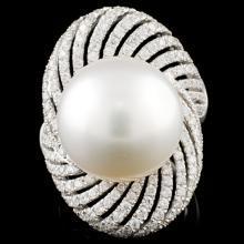 18K Gold 15mm Pearl & 1.41ctw Diamond Ring