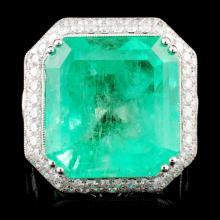 18K Gold 23.83ct Emerald & 3.98ctw Diamond Ring
