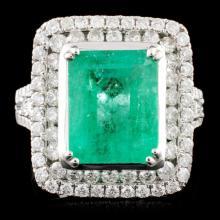 18K Gold 4.25ct Emerald & 1.39ctw Diamond Ring