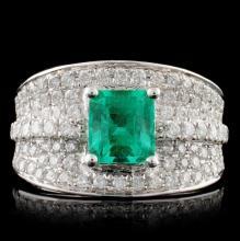18K White Gold 1.57ct Emerald & 0.87ct Diamond Rin
