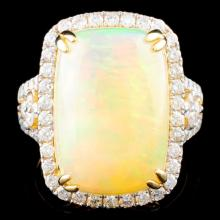 18K Gold 8.87ct Opal & 1.04ctw Diamond Ring