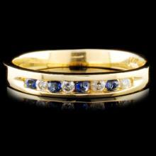 14K Gold 0.14ctw Sapphire & 0.08ctw Diamond Ring