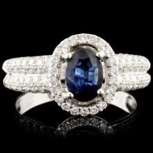 14K Gold 1.31ct Sapphire & 0.63ctw Diamond Ring