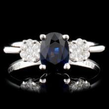 14K Gold 1.05ct Sapphire & 0.16ctw Diamond Ring