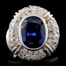14K White Gold 4.38ct Sapphire & 1.56ct Diamond Ri