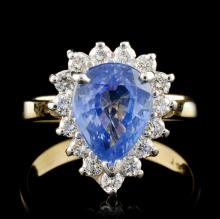 14K Yellow Gold 2.43ct Sapphire & 0.53ct Diamond R