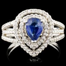 14K Gold 0.92ct Sapphire & 0.47ctw Diamond Ring