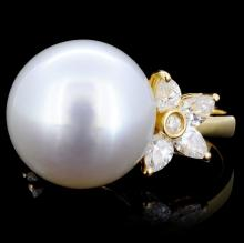 18K Gold 15mm South Sea Pearl & 1.24ct Diamond Rin