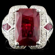 *GIA 18K Gold 5.42ctw Ruby & 0.38ctw Diamond Ring