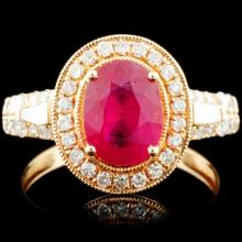 14K Gold 2.02ct Ruby & 0.73ctw Diamond Ring