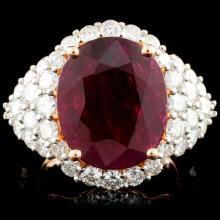 18K Rose Gold 6.07ct Ruby & 2.48ctw Diamond Ring