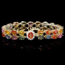 `14k Gold 37ct Sapphire 0.45ct Diamond Bracelet
