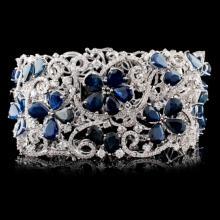 18K White Gold 49.52ctw Sapphire & 8.79ct Diamond