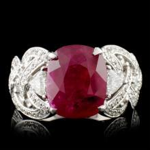 18K White Gold 5.14ct Ruby & 1.29ct Diamond Ring