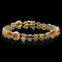 `14k Gold 26.81ct Sapphire 1.50ct Diamond Bracelet