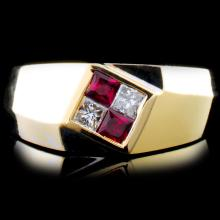 18K Gold 0.22ctw Ruby & 0.18ctw Diamond Ring
