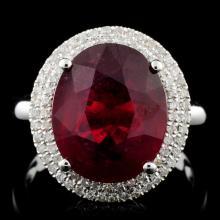 14K White Gold 5.00ct Ruby & 0.35ct Diamond Ring