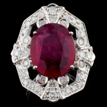 14K White Gold 8ct Ruby & 1.30ct Diamond Ring