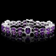 `14k Gold 31ct Amethyst 1.40ct Diamond Bracelet