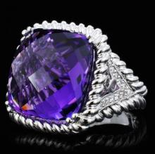 18K Gold 23.51ct Amethyst & 0.43ct Diamond Ring