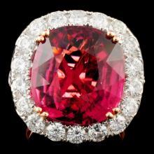18K Gold 14.62ct Tourmaline & 3.21ctw Diamond Ring