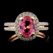 14K Rose Gold 2.40ct Spinel & 0.46ctw Diamond Ring