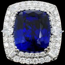 18K Gold 24.35ct Tanzanite & 3.53ct Diamond Ring