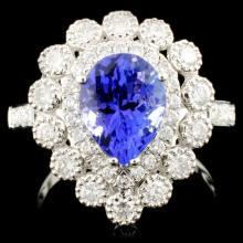 18K Gold 1.95ct Tanzanite & 0.87ctw Diamond Ring