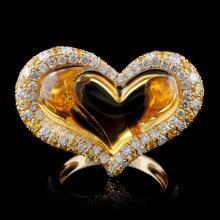 14K Yellow Gold 12.04ct Citrine & 0.74ct Diamond R