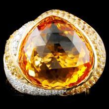 14K Gold 14.22ct Citrine & 0.27ctw Diamond Ring