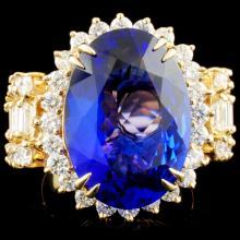 14K Gold 11.22ct Tanzanite & 2.61ctw Diamond Ring