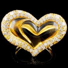 14K Gold 12.04ct Citrine & 0.74ctw Diamond Ring