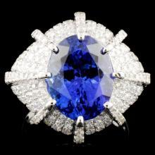 18K Gold 5.91ct Tanzanite & 1.96ctw Diamond Ring