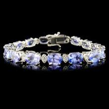 14K Gold 20.7ct Tanzanite & 0.8ctw Diamond Bracele