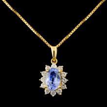 18K Gold 1.21ct Tanzanite & 0.21ctw Diamond Pendan