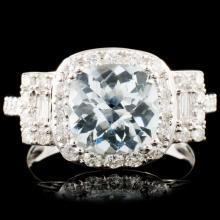 14K Gold 2.04ct Aquamarine & 0.80ctw Diamond Ring
