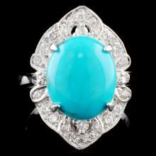 14K Gold 2.75ct Turquoise & 0.40ctw Diamond Ring