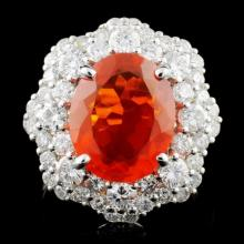18K Gold 3.15ct Fire Opal & 2.05ctw Diamond Ring