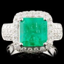 18K Gold 3.07ct Emerald & 2.95ctw Diamond Ring