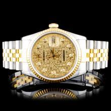 Rolex Two-Tone DateJust Diamond Wristwatch