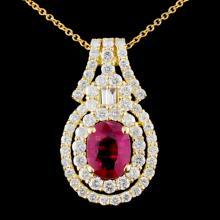 18K Gold 1.44ctw Ruby & 1.24ctw Diamond Pendant