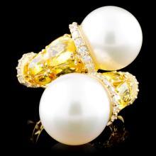 18K Gold 13.00MM Pearl & 0.68ctw Diamond Ring